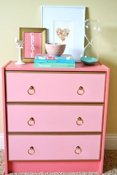 The box was painted with Pratt & Lambert's Mid Rose  The drawer fronts are painted with Pratt & Lambert's Coral Pink  The hardware was ordered online from Lee Valley & Veritas