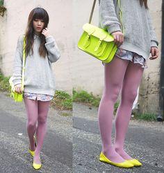 The neon satchel (by Ivy Xu) http://lookbook.nu/look/2509415-the-neon-satchel