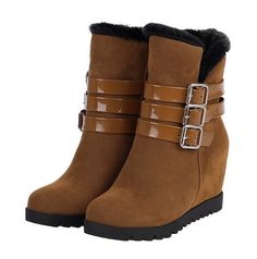 WomenS Korean Fashion Round Toe Multi Buckle Leather Ankle Wedge Snow Boot T33