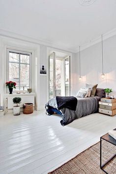 Find your favorite Minimalist living room photos here. Browse through images of inspiring Minimalist living room ideas to create your perfect home. Dream Bedroom, Home Bedroom, Modern Bedroom, Bedroom Decor, Minimalist Bedroom, Master Bedroom, Minimalist Flat, White Bedrooms, Design Bedroom