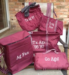 Get ready for football Aggies - cooler tote, large utility tote, fleece-lined blanket, organizing utility tote and retro metro bag.