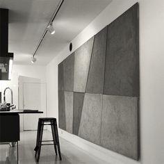 concreAte - beton architektoniczny - płyty betonowe - płytki betonowe - ściana betonowa - imitacja betonu Wall Design, House Design, Concrete Interiors, Concrete Architecture, Room Decor, Wall Decor, Wall Drawing, Kitchen Interior, My Room