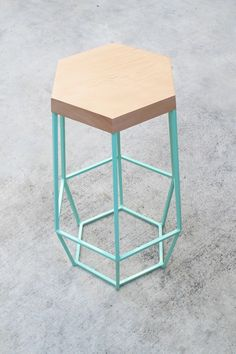 We can't get enough of this combination! geometry stool. Wood vs. Mint