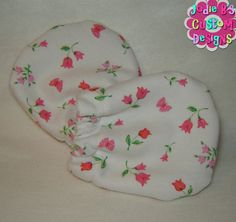Pink Floral No Scratch White Knit Infant Mittens  ~ JBCD  Custom made by Jodie B's Custom Designs www.jodiebs.com