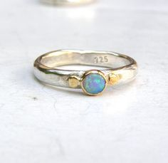 Blue opal Gemestone Engagement Ring - 14k gold ring silver ring Opal  ring, Back to school ring MADE TO ORDER