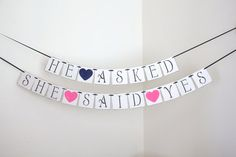 engagement party decorations - bridal shower banner - bridal shower decorations - rustic chic wedding decorations - He Asked She Said Yes via Etsy