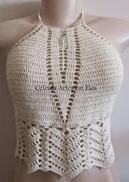 cropped de croche com grafico ile ilgili görsel sonucu Crochet Tank Tops, Crochet Bikini Top, Crochet Shirt, Knit Crochet, Halter Crop Top, Bralette Tops, Trendy Tops, Diy Clothing, Crochet Designs