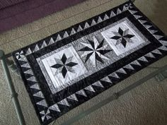 Quilted Table Runner  Black and White Lemoyne by PatsysPatchwork