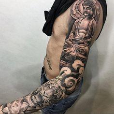 lil b tattoo portofolio Buddha Tattoos, Buddah Sleeve Tattoo, Japanese Tattoo Meanings, Japanese Sleeve Tattoos, Best Sleeve Tattoos, Lil B Tattoo, Arm Tattoo, Black And Grey Tattoos Sleeve, Black Tattoos