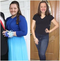 """""""Feeling so thankful for this plan.  In the left picture I was 17 years old at 220 pounds wearing a size 18 dress for my banquet. I remember feeling so beautiful with my new dress and hair done. That picture was taken in April of 2016. I started Trim Healthy Mama at the end of July that year ..."""" Sarah D. www.TrimHealthyMama.com"""