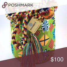 ORIGINAL Colombian Wayuu Bag UNIQUE Woven bag and braided straps. 100% cotton. Bohemian and summer bag. HANDMADE. Anncestral Bags Shoulder Bags