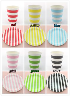60 Sets Promotion Dinnerware Sets 720 9OZ Striped Paper cups and 720 9 Inch Striped Paper Plates for Xmas Party Birthday Party  sc 1 st  Pinterest & red blue black pink green yellow polka dot paper dinnerware set ...