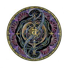 In de Zomerweek ligt de nadruk op Numerologie, het tekenen van een geboorte mandala aan de hand van je geboortedata. Numerologie is een mooie manier van inzicht krijgen in je persoonlijkheid, je bestemming, de weg er naartoe en je potenties. Hier zie je een Numerologische mandala op zwart.