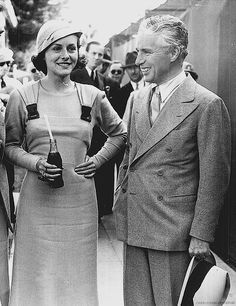 Paulette Goddard and Charlie Chaplin at a tennis match, 1933.