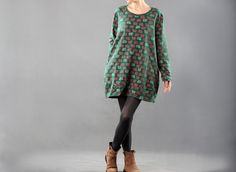 Fashion Simple Green Sheep Print Top Dress Loose Fitting Cotton Fall Blouse Long Sleeve Clothing Plus Size Autumn Top Size M/L/XL on Etsy, $58.00