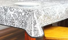 """Black And White Toile Oilcloth Tablecloth 84"""" x 47"""" – Oilcloth Alley"""
