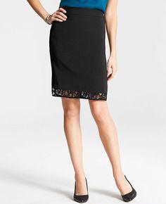 Lace Trim Pencil Skirt