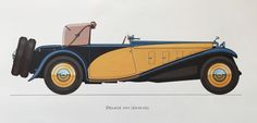 TITLE : DELAGE 1933  DESCRIPTION : one print from a collection of antique classic cars presented in vivid colours, showcases grand cars of the past when automobile making involved not only innovative engineering but creating unique, hand made, visually stunning designs. Marvels of technology and pieces of functional art aimed to impress.  Printed on the reverse is a commentary about the car from Phillip L. Sumner who was vice president of the Veteran Car Club when the prints were produced…