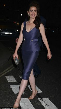 Worn with pride: Hayley Atrwell wears a DSQUARED² peplum dress after performing at Trafalgar Studios Fashion Dresses, Peplum Dresses, Bandage Dresses, Fashion Sets, Women's Fashion, Kendall Jenner Style, Kendall And Kylie, Kylie Jenner, Peggy Carter