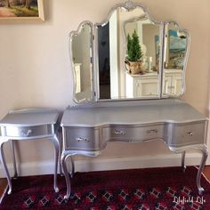 Tips on using Metallic Paint and a Silver Painted Dressing Table Set is part of Silver Painted furniture - Silver painted bedroom furniture by Lilyfield Life and tips for using metallic paint Silver Painted Furniture, Painted Vanity, Painted Bedroom Furniture, Refurbished Furniture, Furniture Makeover, Deco Furniture, Painting Furniture, Furniture Design, Cheap Furniture