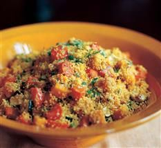 Barefoot Contessa - Moroccan Couscous - couscous featuring butternut squash, carrots, zucchini and scallions flavored with cumin and saffron