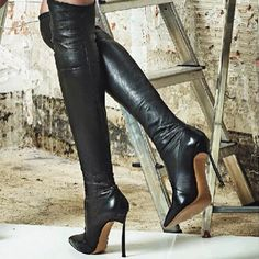 Casadei blade black leather boots