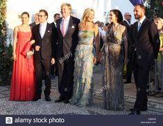 Download this stock image: Swedish Crown Princess Victoria (L-R), Prince Daniel of Sweden, Dutch Crown Prince Willem-Alexander, Crown Princess Maxima, Crown Princess Mary of Denmark and Crown Prince Haakon of Norway arrive for the wedding ceremony of Prince Nikolaos of Greece and Tatiana Blatnik (both unseen) on Spetses Island, Greece, 25 August 2010. The couple got married in the whitewashed 19th-century ca - D5BD53 from Alamy's library of millions of high resolution stock photos…