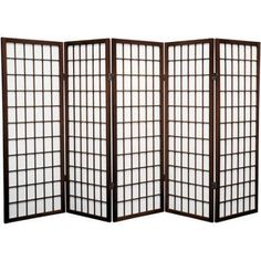 4' Tall Window Pane Shoji Screen, Brown