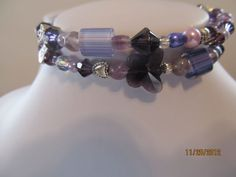 Deep Purple  Swarovski and Fired Glass Braclet- No clasp