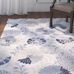 Keith Cobalt Floral Area Rug