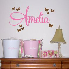 Children's Name with Butterflies Wall Decal - Kids Bedroom Nursery Wall Decor Sticker - Girls Custom Name - CM120A