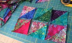 Faire des triangles simplement… Une explication très claire sur le blog d'Emma, qui vent aussi des tissus, matériel de couture et embellissement de quilts (fils métallisés, etc).