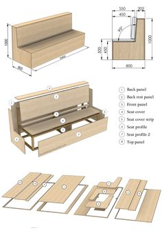 DIY Outdoor Bench Tutorial on how to build an outdoor seat from CNC cut plywood panels and timber sections. Built In Garden Seating, Garden Storage Bench, Deck Seating, Booth Seating, Banquette Seating, Outdoor Seating Areas, Diy Bench, Diy Garden Seating, Garden Benches