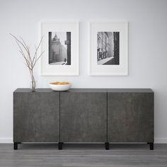 BESTÅ Storage combination with doors - black-brown Kallviken, dark gray concrete effect. Shop here - IKEA At Home Furniture Store, Modern Home Furniture, Minimalist Interior, Minimalist Decor, Minimalist Kitchen, Minimalist Living, Minimalist Bedroom, Buffet Ikea, Home Interior