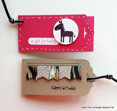 Use the Scalloped Tag Topper Punch to make these little cards/tags. Zoo Babies and Banner Blast were used for the stamps.