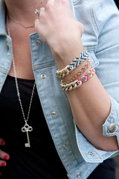 necklace and bracelets.