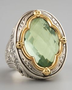 Konstantino  Green Amethyst Clover Ring - sterling silver with floral embellishments
