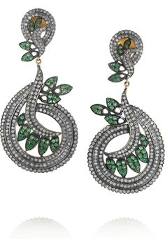 Artisan | Sterling silver, diamond and emerald leaf earrings  #IPAProm #Prom360
