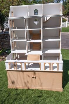 Miniature-Dollhouse-Ashbourne-Hall-Doll-House-w-Display-Cabinet-Made-in-England