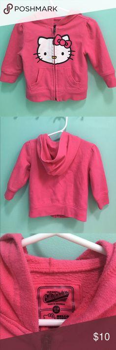 Old Navy Hello Kitty Pink Hooded Sweatshirt Old Navy Hello Kitty Pink Hooded Sweatshirt size 12-18 months. Hot pink hooded, zip front sweatshirt. EUC. Old Navy Shirts & Tops Sweatshirts & Hoodies