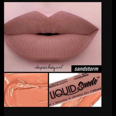 NYX Liquid Suede Lipstick Sandstorm NYX Sandstorm Liquid Suede Lipstick. Goes on like silk and Dries to a beautiful matte finish. My favorite new lipstick line and favorite new color NYX Makeup Lipstick