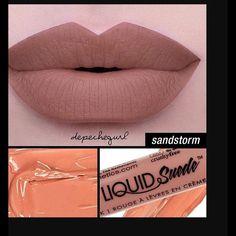 NYX Liquid Suede Lipstick Sandstorm NYX Sandstorm Liquid Suede Lipstick. Goes on like silk and Dries to a beautiful matte finish. My favorite new lipstick line and favorite new color NYX Makeup Lipstick
