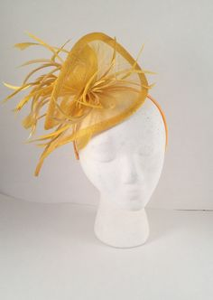 Fascinator base measures 11 inches wide and stands approx 7 inches tall with the feathers. Fascinator is attached to matching color satin headband Fascinator Hats, Feathers, Derby, Satin, Base, Yellow, Color, Style, Swag
