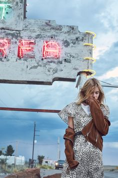 Camille Rowe poses in Marfa, Texas for Mango's Journeys campaign