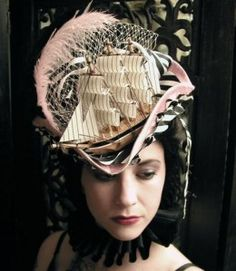 Modern Marie: A handmade hat from Hey Sailor! Reminiscent of the ship hat Marie Antoinette famously wore. Steampunk Makeup, Steampunk Hat, Steampunk Fashion, Steampunk Clothing, Steampunk Necklace, Gothic Fashion, Marie Antoinette, Steampunk Accessoires, Crazy Hats