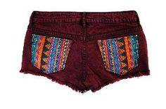 Burgundy Tribal Print Back Pocket Shorts #Burgundy #Tribal #Shorts