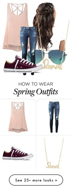 "Design your own photo charms compatible with your pandora bracelets. ""Spring Outfit"" by batmad on Polyvore featuring moda, Glamorous, Tiffany & Co., AG Adriano Goldschmied, Converse y Sydney Evan"