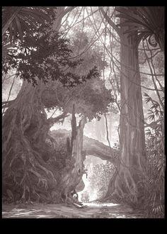by Matthias Lechner Fantasy Forest, Fantasy Castle, Plant Illustration, Landscape Illustration, Illustration Styles, Environment Concept Art, Environment Design, Zootopia, Bg Design