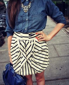 Anthro Skirt (got it) love the idea of the chambray shirt!