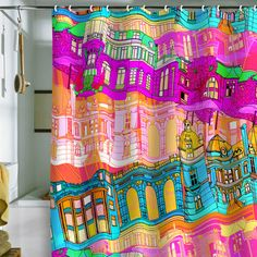 Buy Shower Curtain with City Scape designed by Aimee St Hill. One of many amazing home décor accessories items available at Deny Designs. Painting Inspiration, Color Inspiration, Nursery Decor, Room Decor, Cool Shower Curtains, Yellow Throw Pillows, Hill City, Cool Diy Projects, Home Decor Accessories